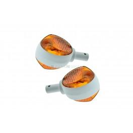 Blinker Paar komplett (Gehäuse weiß, Glas orange)